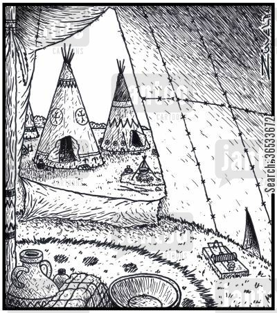 mousetrap cartoon humor: A Mouse hole in a Tepee in the shape of a Tepee.
