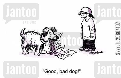 homework excuse cartoon humor: 'Good, bad dog!'
