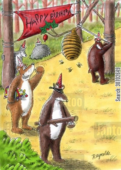 honey bees cartoon humor: Happy Birthday (bees' nest pinata).