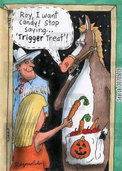 reins cartoon humor: Halloween treats for a horse