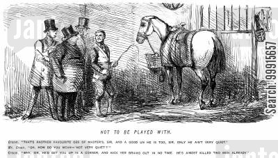 horsekeeping cartoon humor: Groom teling visitors about an erratic horse