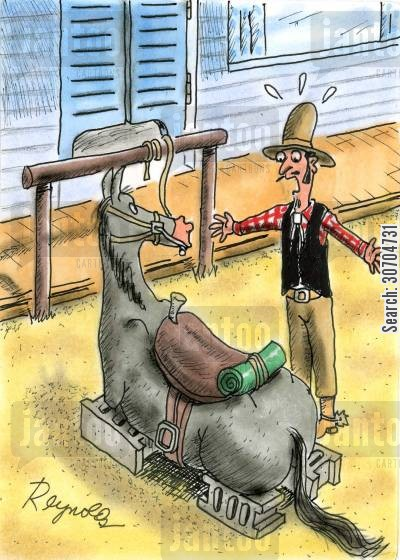 car on bricks cartoon humor: Cowboy finds Horse's Legs Stolen.