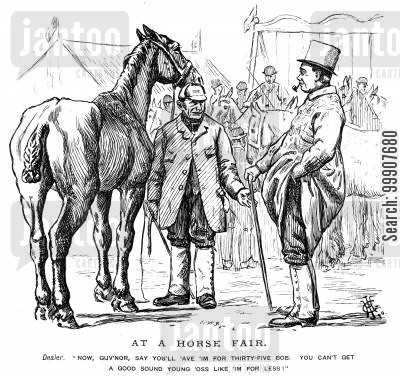 horse traders cartoon humor: At a Horse Fair.