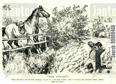 horse jumping cartoon humor: Man Tries To Teach Horse To Jump.