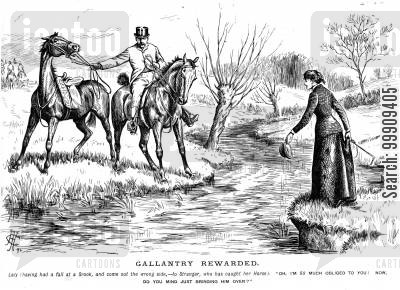 horse-rider cartoon humor: A Women Falls Into A Brook.