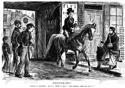 teasing cartoon humor: Some men taunting a gentleman on a horse
