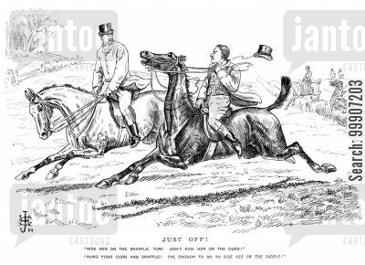 snaffle cartoon humor: A man giving another advice on how to ride his horse