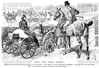 carriages cartoon humor: A woman asking if she can let her little dog join in with the hunt