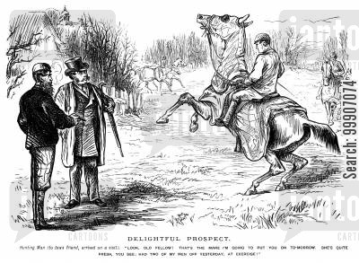 anticipate cartoon humor: A man facing the prospect of riding on an excitable horse