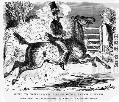 canter cartoon humor: A Man Riding A Horse Home.