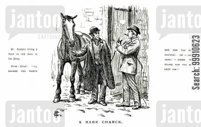 charge cartoon humor: Man hiring a horse