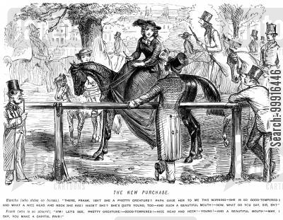 attractiveness cartoon humor: Man tells a young lady that her beautiful horse and her make a fine pair