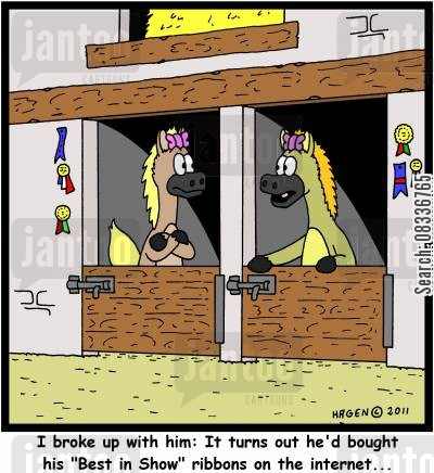 curriculum cartoon humor: 'I broke up with him: It turns out he'd bought his 'Best in Show' ribbons on the internet...'