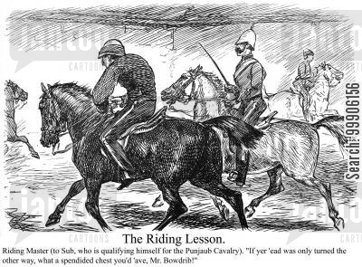 equestrians cartoon humor: A riding lesson.