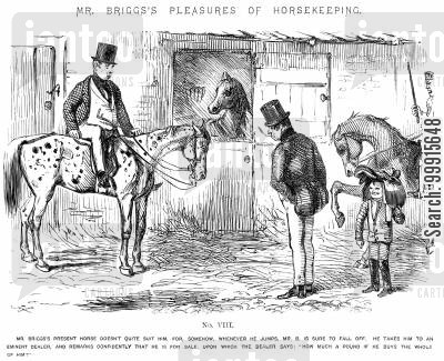 horsekeeping cartoon humor: Mr Briggs's Pleasures of Horsekeeping - No. VIII