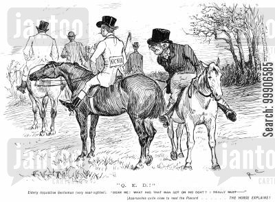 horserider cartoon humor: An elderly gentleman inspecting a sign on a gentleman's back