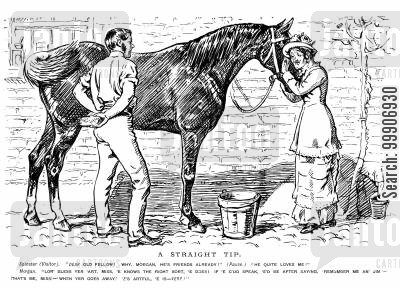 sales pitch cartoon humor: A man selling a horse to an older lady