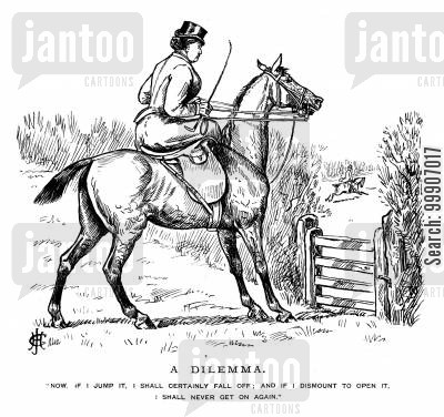 horse jumping cartoon humor: A lady having trouble deciding whether to jump over a fence or not