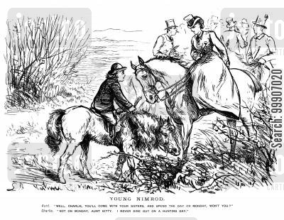 horseriding cartoon humor: A young man serious about hunting
