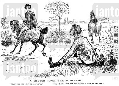 horse-rider cartoon humor: A man supposedly looking at the view.