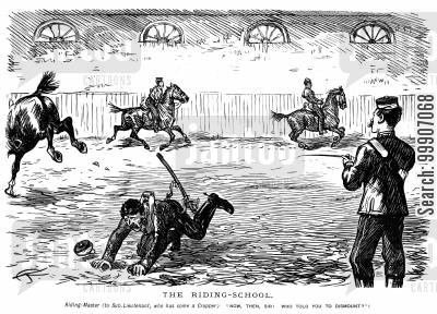 riding-masters cartoon humor: A man being reprimanded for falling off of his horse