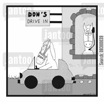 feedbag cartoon humor: Don's Drive In