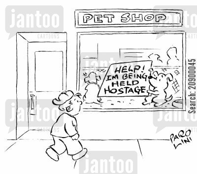 hostage situation cartoon humor: Puppy holding a sign: 'Help! I'm being held hostage.'
