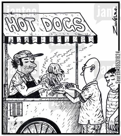 sweating cartoon humor: Hot Dogs.