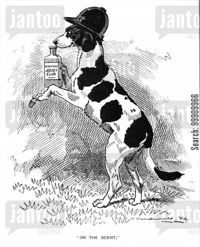 odour cartoon humor: Dog sniffing scent