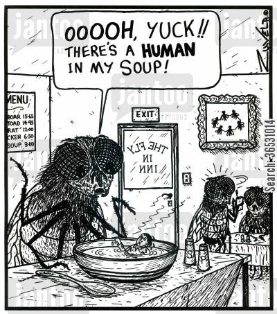 poor service cartoon humor: 'OOOOH, YUCK!! There's a HUMAN in my soup!'
