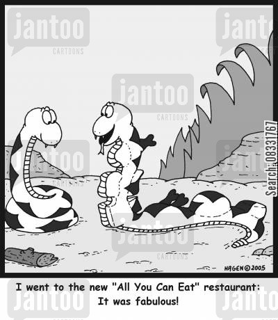 all you can eat restaurant cartoon humor: 'I went to the new 'All You Can Eat' restaurant: It was fabulous!'