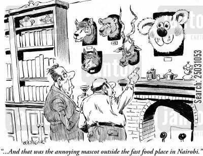 hunting trip cartoon humor: '...And that was the annoying mascot outside the fast food place in Nairobi.'