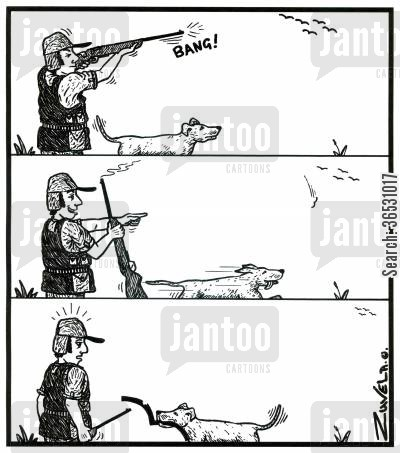 shooters cartoon humor: A hunter shoots what he thinks is a bird, but turns out to be a big 'm'.