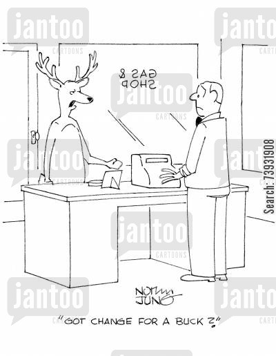 hunting trip cartoon humor: 'Got change for a buck?'