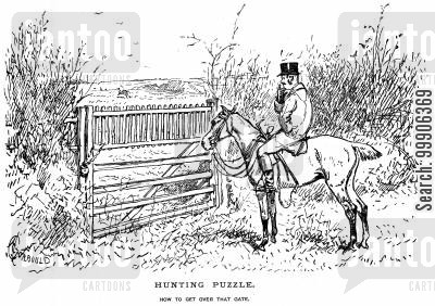 horserider cartoon humor: A hunter puzzling over how to get over the gate.