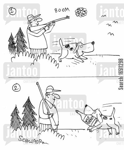 hunts cartoon humor: Hunting Dog brings back bottle of wild turkey.