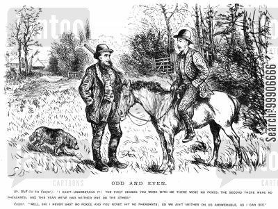 gamekeeper cartoon humor: Two hunters discussing the lack of animals to shoot