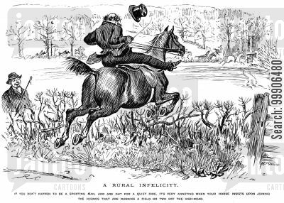 carried away cartoon humor: A horse deciding to join in with a hunting trip, against his owners wishes.