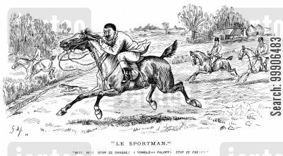incompetent cartoon humor: A man having difficulty staying on his horse.