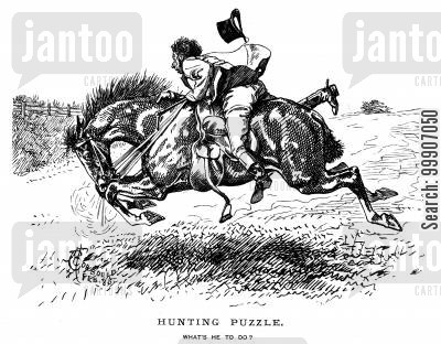 wild horse cartoon humor: A hunter on a horse that is out of control