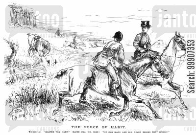 thrown off cartoon humor: A man being thrown off of his horse into a brook
