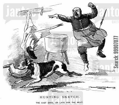 stolen cartoon humor: A dog stealing some meat from a hunter