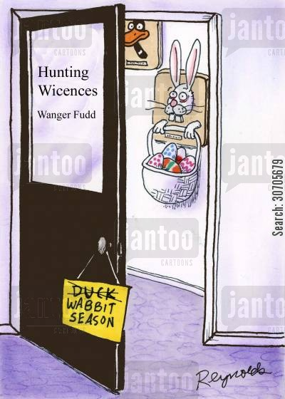 hunting licenses cartoon humor: Hunting licenses office.