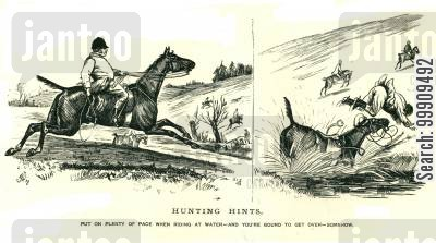 hunting horse cartoon humor: Man Falls Off His Horse.