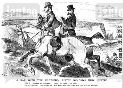 bathing machine cartoon humor: A discussion over a hunter's new horse.