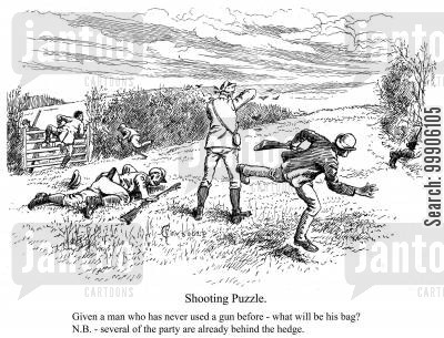 hunting dog cartoon humor: A huntsman and his hounds.