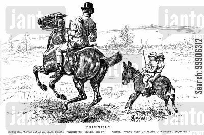 hunting dog cartoon humor: Two boys on a pony leading a hunter on a horse.