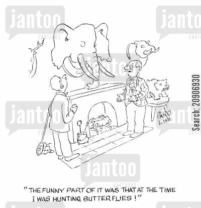 catchers cartoon humor: 'The funny part of it was that at the time I was hunting butterflies!'