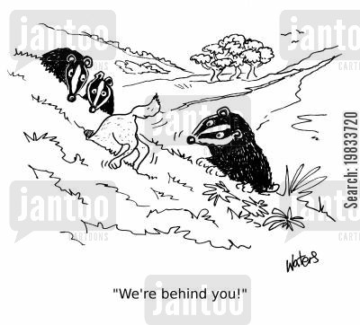 panto cartoon humor: 'We're behind you!'