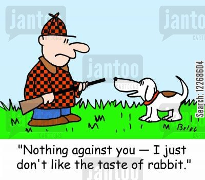 favourite food cartoon humor: 'Nothing against you - I just don't like the taste of rabbit.'
